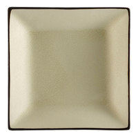 CAC 666-5-W Japanese Style 5 inch Square China Plate - Black Non-Glare Glaze / Creamy White - 36/Case
