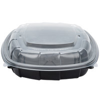 51 oz. Black 9 inch x 9 inch x 3 inch Square Microwaveable Plastic Hinged Take-Out Container - 112 / Case