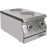 Garland ED-15HSE Designer Series 15 inch Two Solid Burner Electric Countertop Hot Plate - 208V, 1 Phase, 5.2 kW
