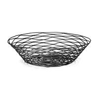 Tablecraft BK17512 Artisan Round Black Wire Basket - 12 inch x 3 1/2 inch