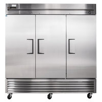 True T-72 78 inch Three Section Solid Door Reach in Refrigerator - 72 Cu. Ft.