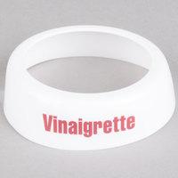 Tablecraft CM9 Imprinted White Plastic Vinaigrette Salad Dressing Dispenser Collar with Maroon Lettering