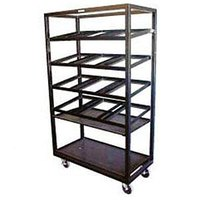 Winholt DR-2143 Black 43 inch x 21 inch Merchandiser Rack with Four Slanted Shelves and Flat Bottom Shelf