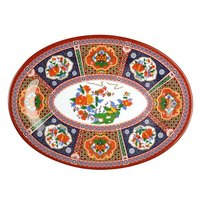 Peacock 14 inch x 10 inch Oval Melamine Platter - 12 / Pack