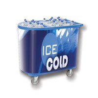 Blue Server Elite 5070 Portable Insulated Ice Bin / Beverage Cooler / Merchandiser with Two Compartments, Cash Drawer and Tray 108 Qt.