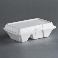 Dart Solo 205HT2 9 inch x 6 inch x 3 inch White Foam 2 Compartment Take Out Container with Perforated Hinged Lid - 200/Case