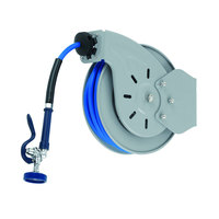 T&S B-7232-10 35' Open Epoxy Coated Steel Hose Reel with EB-2322 Extended Spray Wand