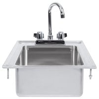 """Regency 10"""" x 14"""" x 5"""" 16-Gauge Stainless Steel One Compartment Drop-In Sink with 8"""" Gooseneck Faucet"""