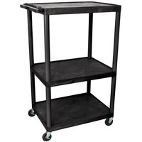 Luxor LP54E 3 Shelf A/V Cart 32 inch x 24 inch x 54 inch