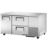True TUC-60-32D-2 60 inch Extra Deep Undercounter Refrigerator with One Door and Two Drawers