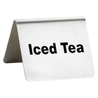 Tablecraft B4 2 1/2 inch x 2 inch Stainless Steel Iced Tea Tent Sign