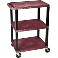 Luxor / H. Wilson WT34BYS Burgundy 34 inch Three Shelf AV Utility Cart