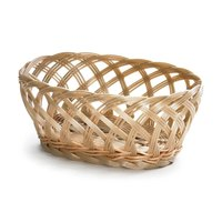 Tablecraft 1136W 9 1/4 inch x 7 inch x 3 1/4 inch Natural Open Weave Oval Rattan Basket - 12/Pack