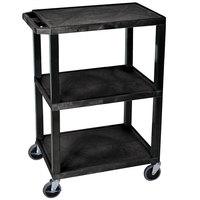 Luxor / H. Wilson WT34S Black 34 inch Three Shelf AV Utility Cart
