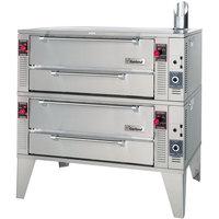 Garland GPD48-2 Liquid Propane 63 inch Pyro Double Deck Pizza Oven - 192,000 BTU