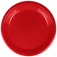 Creative Converting 28103121B 9 inch Classic Red Plastic Dinner Plate - 600 / Case