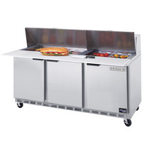 Beverage-Air SPE72-18 72 inch Three Door Refrigerated Salad / Sandwich Prep Table