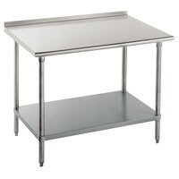 14 Gauge Advance Tabco FLG-364 36 inch x 48 inch Stainless Steel Commercial Work Table with Undershelf and 1 1/2 inch Backsplash
