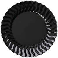 Fineline Flairware 206-BK 6 inch Black Plastic Plate - 18/Pack