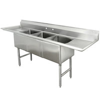 Advance Tabco FC-3-1824-24RL Three Compartment Stainless Steel Commercial Sink with Two Drainboards - 102 inch
