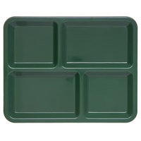 Carlisle KL44408 4-Compartment Forest Green Melamine Tray - 11 inch x 8 11/16 inch