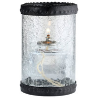 Sterno Products 80304 5 inch Clear Crackle Glass Liquid Candle Holder with Bronze Rings