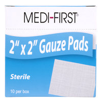 Medi-First 60612 Sterile 2 inch x 2 inch Gauze Pads - 10 / Box