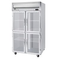 Beverage Air HFP2-1HG 2 Section Glass Half Door Reach-In Freezer - 49 cu. ft., Stainless Steel Exterior