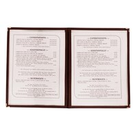 8 1/2 inch x 11 inch Two Pocket Clear Menu Cover - Burgundy