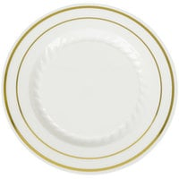 Fineline Silver Splendor 506-BO 6 inch Bone / Ivory Plastic Plate with Gold Bands - 150/Case