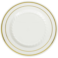Fineline Silver Splendor 506-BO 6 inch Bone White Plastic Plate with Gold Bands - 150 / Case