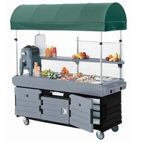 Cambro CamKiosk KVC854C426 Black Base with Granite Gray Door Vending Cart with 4 Pan Wells and Canopy