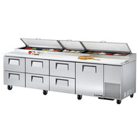 True TPP-119D-6 119 inch Refrigerated Pizza Prep Table with One Door and Six Drawers