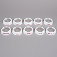 Tablecraft CM12 10-Piece Imprinted White Plastic Salad Dressing Dispenser Collar Set with Maroon Lettering
