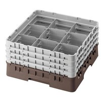 Cambro 9S800167 Brown Camrack 9 Compartment 8 1/2 inch Glass Rack
