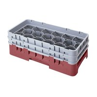 Cambro 17HS800416 Camrack 8 1/2 inch High Cranberry 17 Compartment Half Size Glass Rack