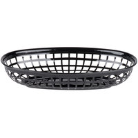 9 1/4 inch x 5 3/4 inch Black Plastic Oval Fast Food Basket - 12 / Pack