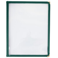 8 1/2 inch x 11 inch Three Pocket Menu Cover - Green