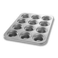 Chicago Metallic 43555 12 Cup Glazed Oversized Large Crown Muffin Pan - 13 1/2 inch x 17 7/8 inch