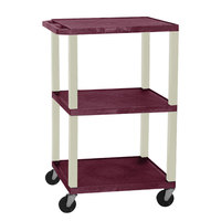 Luxor / H. Wilson WT1642E Burgundy Tuffy Open Shelf A/V Cart 18 inch x 24 inch with 3 Shelves - Adjustable Height