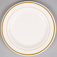 WNA Comet MP9IPREM 9 inch Ivory Masterpiece Plastic Plate with Gold Accent Bands - 120 / Case