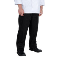 Chef Revival P014BK Size L Black Slim Fit Chef Pants - Poly-Cotton Blend
