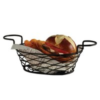 American Metalcraft BNBB692 Oblong Birdnest Black Metal Basket with 2 Ramekin Holders - 9 inch x 6 inch x 3 7/8 inch
