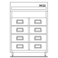 Delfield SSRFF2S 51.92 Cu. Ft. Self Contained Two Section Reach In Drawered Fish File - Specification Line