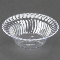 Fineline Flairware Clear 205-CL 5 oz. Plastic Bowl - 5 inch x 2 3/4 inch x 1 1/2 inch 18 / Pack