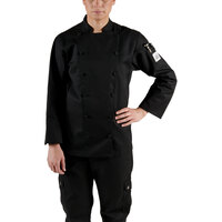 Chef Revival LJ025BK-M Chef-Tex Size 8 (M) Black Customizable Ladies Cuisinier Chef Jacket