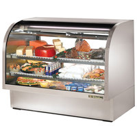 True TCGG-60-S-LD 60 inch Stainless Steel Curved Glass Refrigerated Deli Case - 30 Cu. Ft.