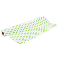 40 inch x 100' Table Cover with Green Polka Dots