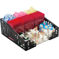 Cal-Mil 1616-13 Squared Black Condiment Organizer with Acrylic Dividers - 12 inch x 12 inch x 5 1/4 inch