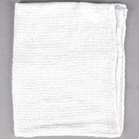 "Choice 16"" x 19"" White 24 oz. 100% Cotton Ribbed Terry Bar Towel   - 12/Pack"